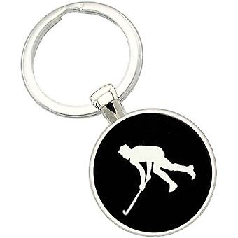 Bassin and Brown Hockey Player Key Ring - Black/White