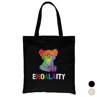 LGBT Ekoalaity Koala Rainbow Canvas Bag Valentines Regalo