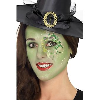 Smiffy's Pretty Witch Make Up Kit, Face Paints,Tattoo,Gem,