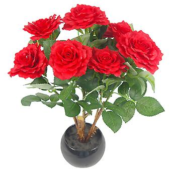 42cm Planta Rosa Artificial con Plantador de Cerámica Medio Rojo