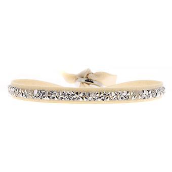 Bracelet interchangeable A41159 - fabric Beige woman Swarovski crystals Bracelet