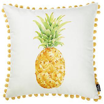 "18""x 18"" Tropical Pinapple PomPom Decorative Throw Pillow Cover"