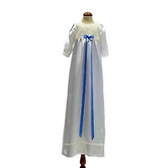 Dopklänning I Off White Med Lång ärm, Smal Ljusblå Rosett