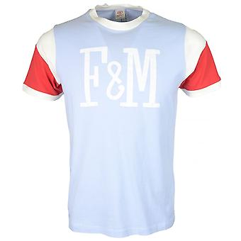 Franklin & Marshall Mf386 Cotton Round Neck Pastel Blue T-shirt