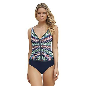 Sunflair 22344-3099 Women's New Missy Night Blue Multicolour Aztec Soft Cup Low Back Swimsuit