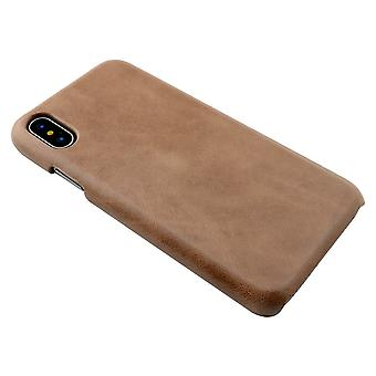 For iPhone XS,X Case,Modern High-Quality Genuine Shielding Leather Cover,Coffee