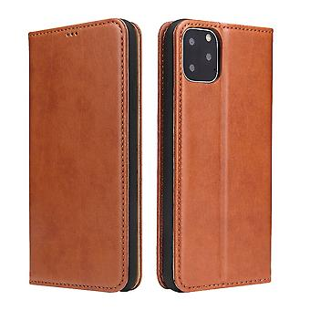 Pour iPhone 11 Pro Max Case Leather Flip Wallet Protective Cover avec Stand Brown