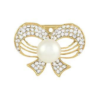 Ewige Sammlung Umarmung Kristall und Faux Perlen Bow Schal Clip