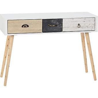 Nordic 3 Drawer Occasional Table In White/distressed Effect