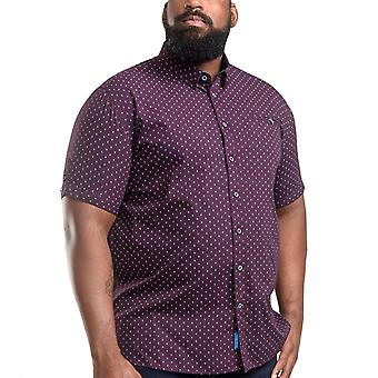 Duke D555 Hommes Decker Big Tall King Size Geo AO Print Cotton Shirt Top Bourgogne