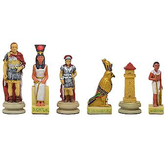 The Romans Vs Egyptians hand painted themed chess pieces by Italfama