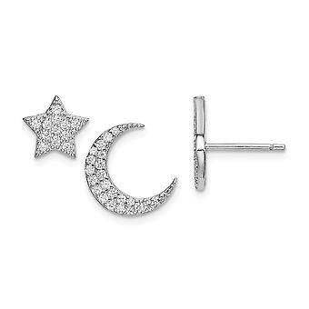 11mm 925 Sterling Argent Rhodium plaqué CZ Cubic Zirconia Simulated Diamond Star et Celestial Moon Post Boucles d'oreilles Bijoutier