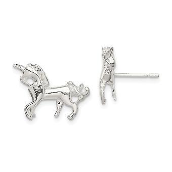 925 Sterling ezüst polírozott post fülbevaló unikornis Mini fiúknak és lányoknak Fülbevaló intézkedések 11x10mm széles