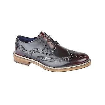 Roamers Oxblood Hi-shine Leather 5 Eyelet Wing Capped Brogue Gibson Shoe
