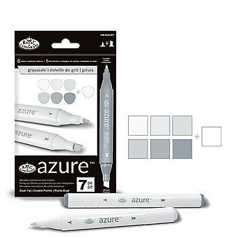 Royal & Langnickel Azure dubbelspetsen markör uppsättning 6 + 1 gråskala färger