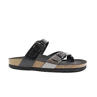 Ara 17709-05 Grey/Black Leather Womens Slip On Mule Sandals