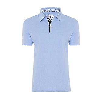 R2 Short Sleeved Contrast Polo Shirt Pale Blue