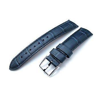 Strapcode crocodile grain watch strap 20mm or 22mm crococalf (croco grain) dark blue semi-curved watch strap, blue stitching, p