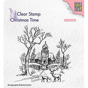 Nellie&apos's Choice Clearstamp - Jultid Vinterig scen med kyrka & ren CT027 75x75mm