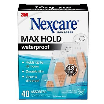 Nexcare bandages max hold waterproof bandages, assorted, 40 ea