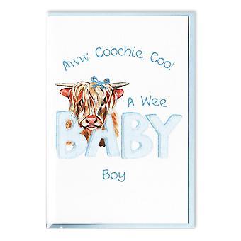 Gestickte Originale Highland Kuh Coochie Coo Baby Boy Karte