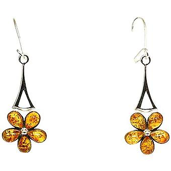 The Olivia Collection Sterling Silver Daisy Amber Drop Earrings