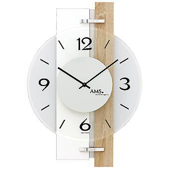 AMS 9557 wall clock quartz high gloss white wooden Sonoma optics with aluminium and glass