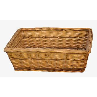 Extra Large Two Tone Rectangular Wicker Tray