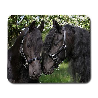 أسود الخيول الماوس وسادة،