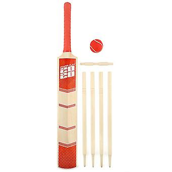 Powerplay 2020 Deluxe Cricket Bat Ball Stump Set Rosso - Taglia 5
