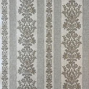 Simplesmente Satin Damask Stripe Papel de Parede Taupe Fine Decor FD65022UP