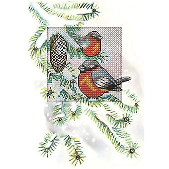 Orchidea Cross Stitch Card Kit - Birds in a Fir Tree