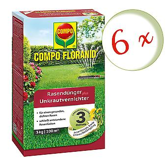 Sparset: 6 x COMPO Floranid® gressgjødsel pluss luke killer, 3 kg