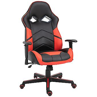 Vinsetto PU Leather Gaming Chair Stylish PU Leather Red Panels Ergonomic Swivel w/ 5 Wheels Adjustable Height Armrests Home Office Racking Comfortable Black