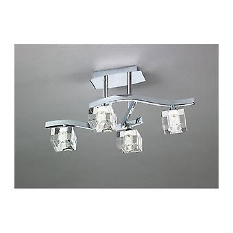 Cuadrax G9 4 Bulbs Semi Ceiling Light, Polished Chrome