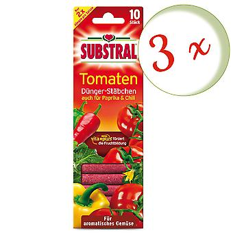 Sparset: 3 x SUBSTRAL® fertilizer chopsticks for tomatoes, 10 pieces