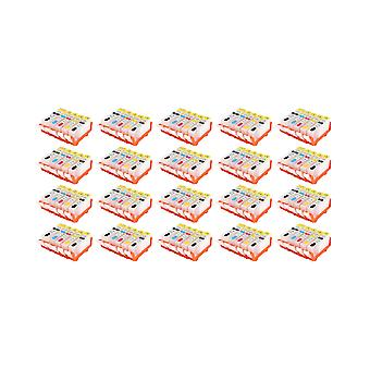 RudyTwos 20x Replacement for Canon CLI-521 Set Ink Unit Black Cyan Yellow & Magenta + 1x Extra Black (5 Pack) Compatible with Pixma MP540, MP540x, MP550, MP560, MP620, MP620b, MP630, MP640, MP980, MP9