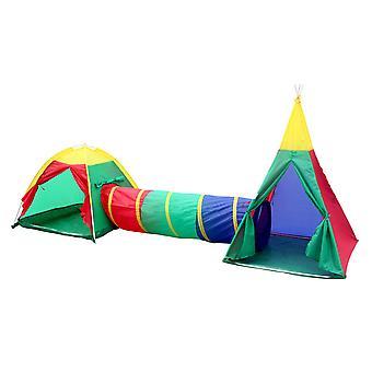 Charles Bentley Children's 3in1 Adventure Indoor/Outdoor Tepee Play Tent Set