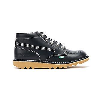 Kickers Kick Hi Zip Junior Navy / White Leather Boots