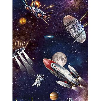 Outer Space Glow in the Dark Wallpaper Blue Belgravia 8800