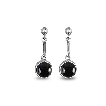 ADEN 925 Sterling Silver Onyx Round Shape Earrings (id 1705)