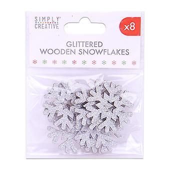 Enkelt Kreativ jul glittrade trä snöflingor (8st) (SCTOP053X19)