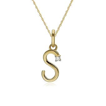 Initial S Diamond Letter Necklace in 9ct Yellow Gold 191P0746019