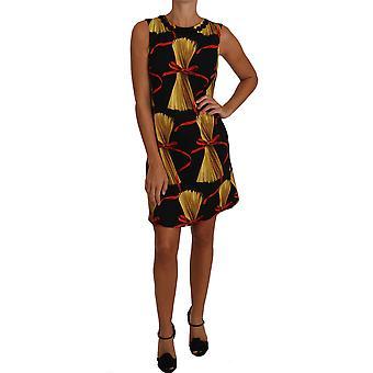 دولتشي وغابانا الأسود الحرير مصغرة تحول المعكرونة طباعة اللباس - DR14772528
