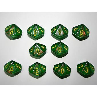 Chessex 10 x D10 Dice Set - Borealis Maple Green / yellow