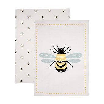 Dexam Bees Knees Tea Towels Set of 2, Yellow
