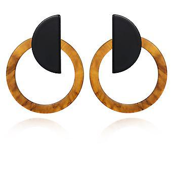 Brown Acrylic Resin Hoop Drop Earrings