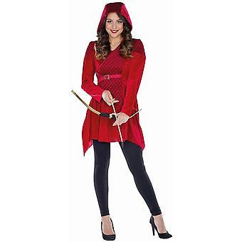 robina ranger ing jeger ruby rød kvinners kostyme karneval hette kjole