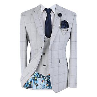 Men's Light Grey Double Breasted Waistcoat Retro Check Suit