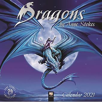 Dragons door Anne Stokes Wall Calendar 2021 Art Calendar door Gemaakt door Flame Tree Studio